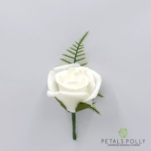 White foam rose buttonhole
