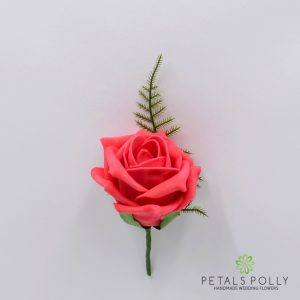 Pink coral foam rose buttonhole