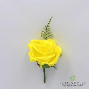 Yellow foam rose buttonhole