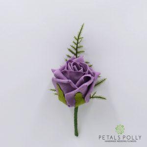 Lavender foam rose buttonhole