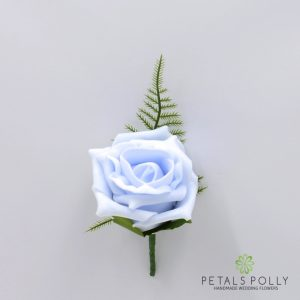 Baby blue foam rose buttonhole