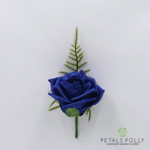 Navy blue foam rose buttonhole
