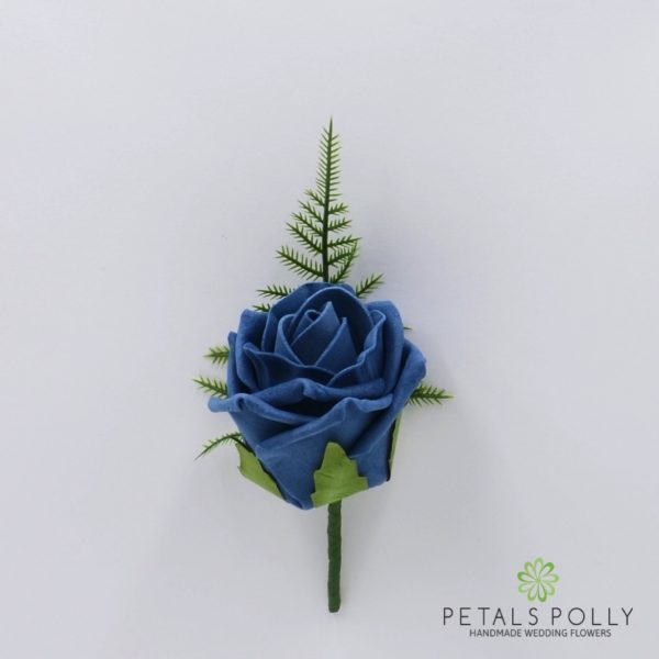 Aqua Blue Single Foam Rose Buttonhole