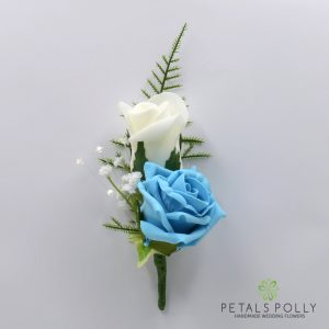 Aqua and ivory double foam rose buttonhole