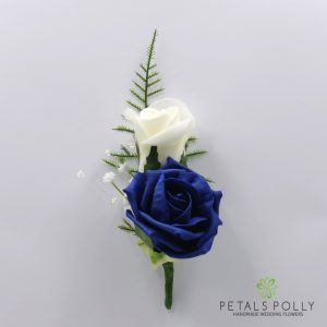Navy blue and ivory double foam rose buttonhole