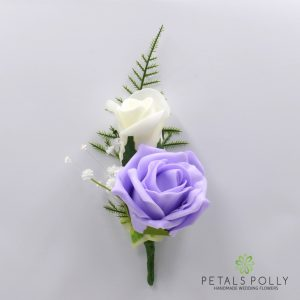 Lilac and ivory double foam rose buttonhole