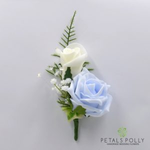 Baby blue and ivory double foam rose buttonhole