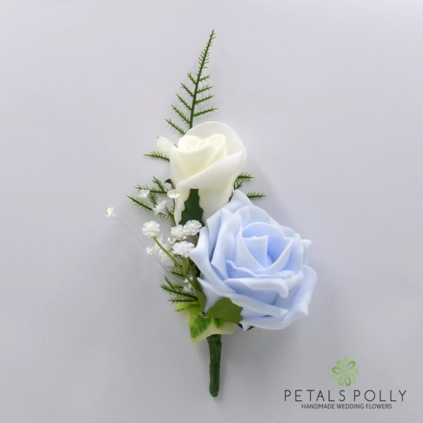 Aqua Blue / Turquoise & Ivory Double Foam Rose Buttonhole