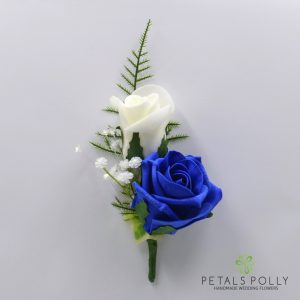 Royal blue and ivory double foam rose buttonhole