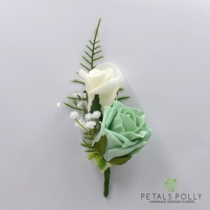 Mint green and ivory double foam rose buttonhole