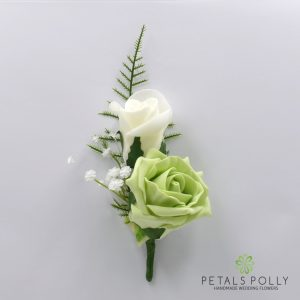 Pistachio and ivory double foam rose buttonhole