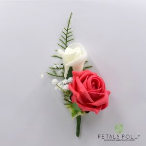 Coral and ivory double foam rose buttonhole