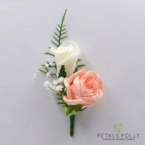 Peach and ivory double foam rose buttonhole
