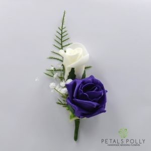 Purple and ivory double foam rose buttonhole