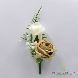 Cappuccino and ivory double foam rose buttonhole