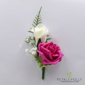 Hot pink and ivory double foam rose buttonhole