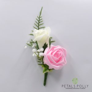 Baby pink and ivory double foam rose buttonhole