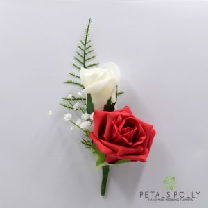 Red and ivory double foam rose buttonhole
