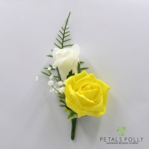 Yellow and ivory double foam rose buttonhole
