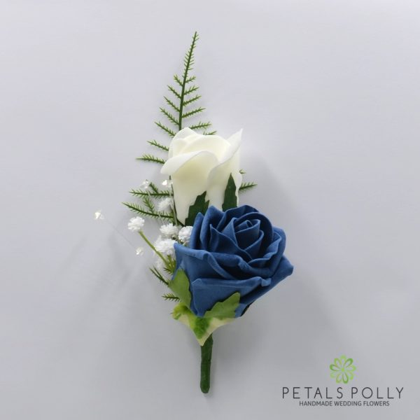 Aqua Blue / Turquoise & Ivory Double Foam Rose Buttonhole