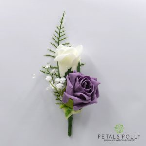 Lavender and ivory double foam rose buttonhole