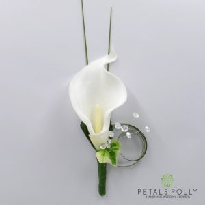 White real touch calla lily buttonhole