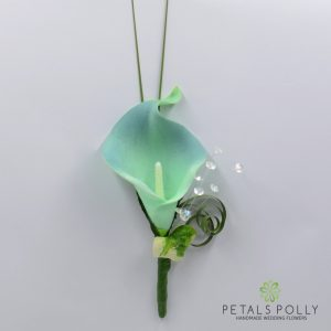 Teal real touch calla lily buttonhole