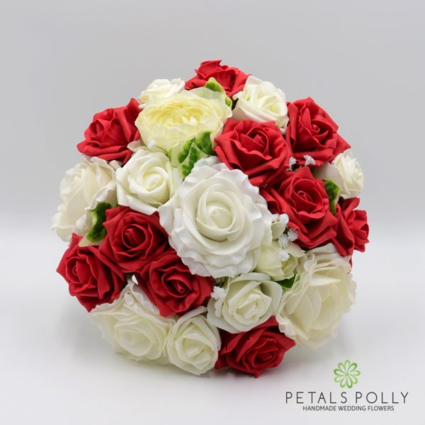 Red & Ivory Rose Brides Posy with Ranunculus