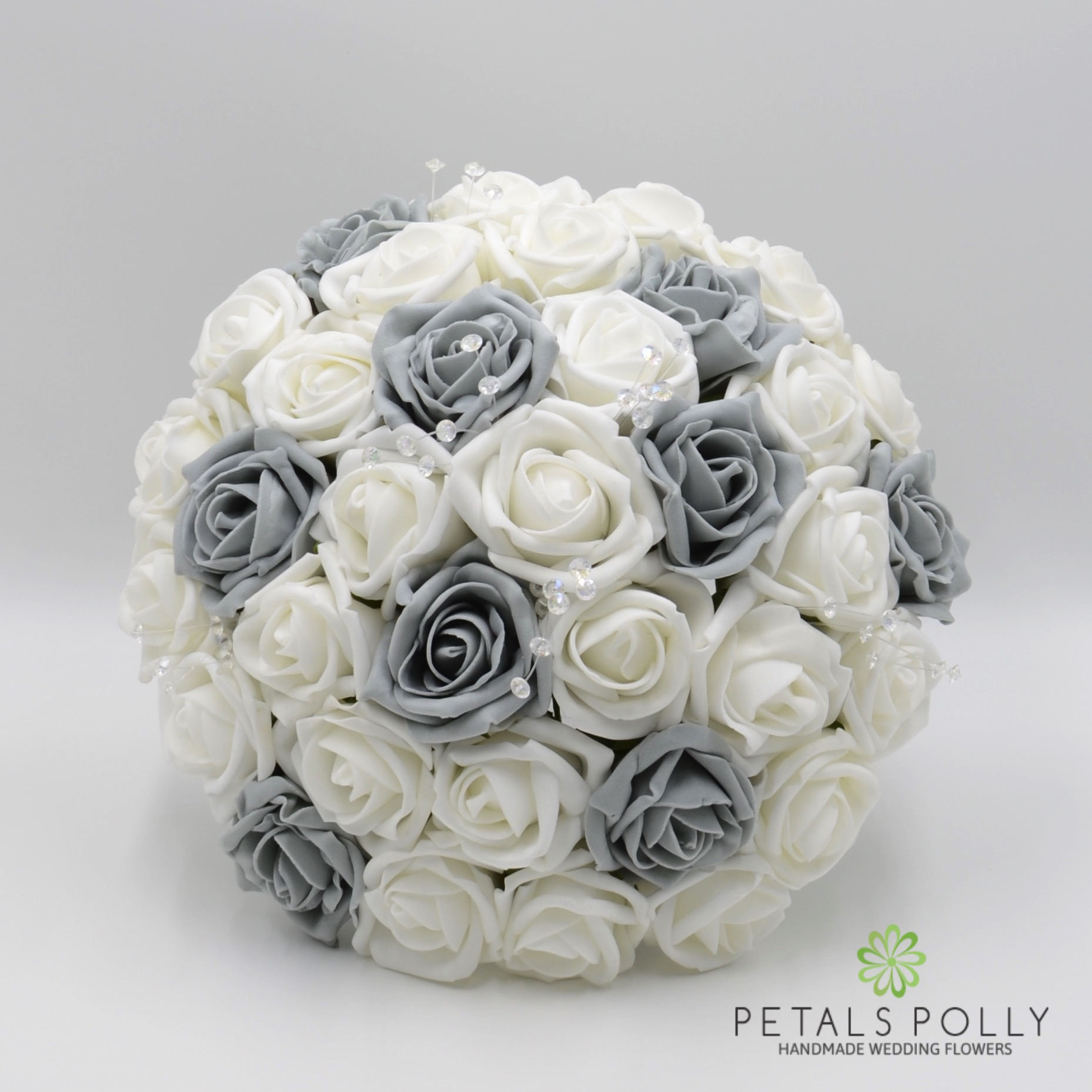Grey & White Rose Brides Posy -