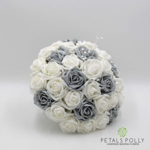 Grey and white foam rose brides bouquet