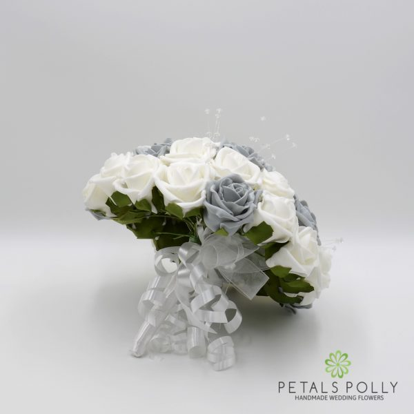 Grey & White Rose Brides Posy