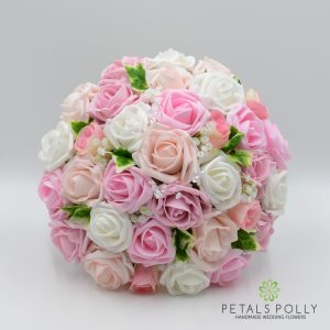 Baby pink, antique pink, blush pink and white brides posy