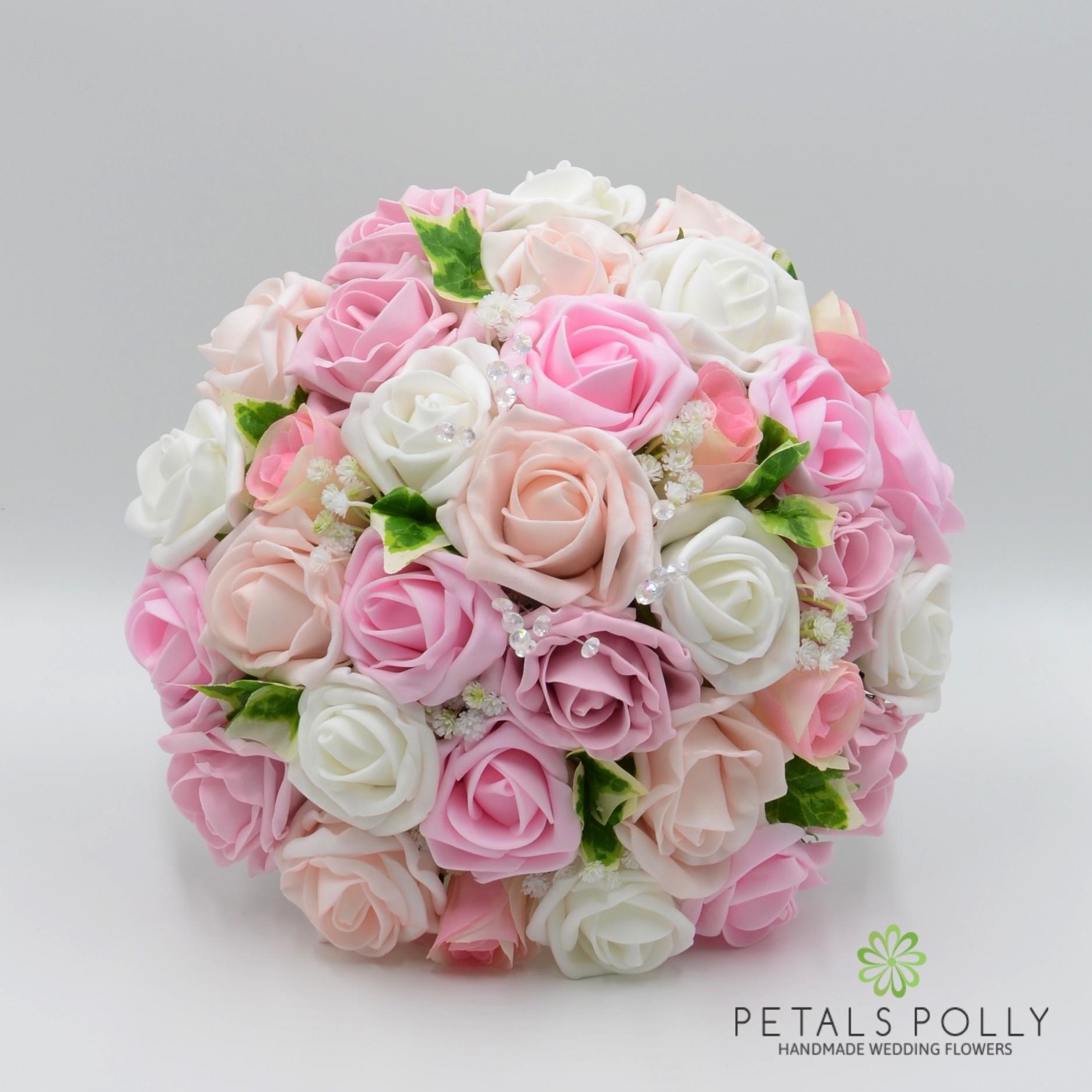 Baby Pink Antique Pink Blush Pink White Rose Brides Posy