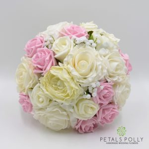 Antique Pink & Ivory Rose Brides Posy with Ranunculus