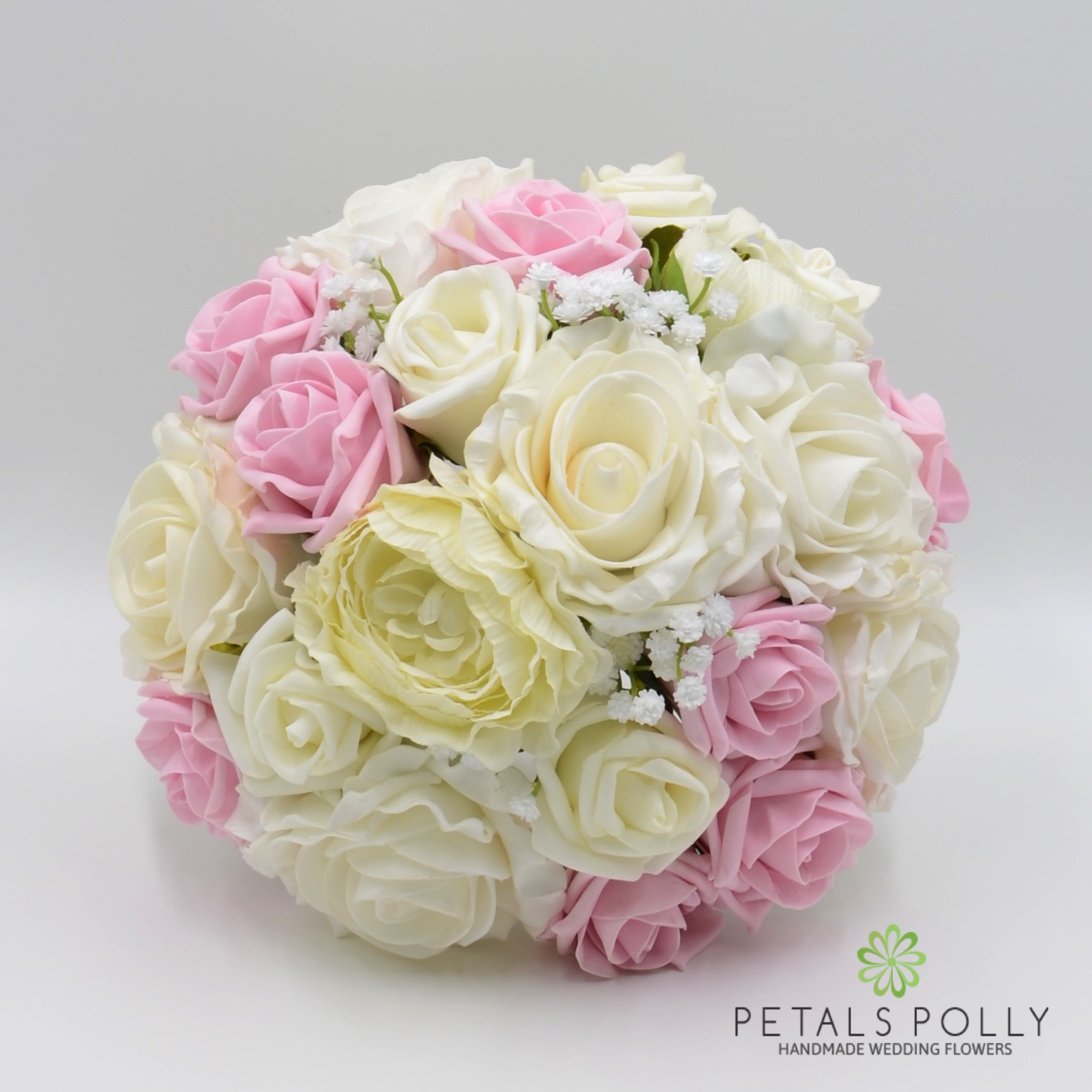 Baby Pink Amp Ivory Rose Brides Posy With Ranunculus