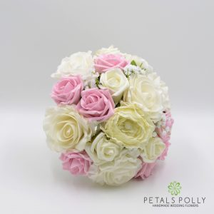 Baby pink and Ivory silk rose brides bouquet ranunculus