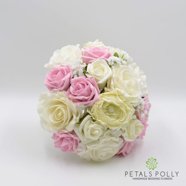Baby Pink & Ivory Rose Brides Posy with Ranunculus