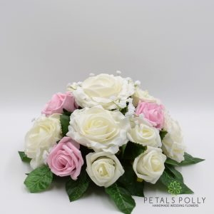 Baby pink and ivory rose table centre decoration