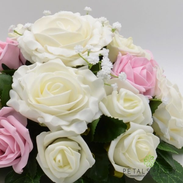 Antique Pink & Ivory Rose Table Centre Decoration with Ranunculus