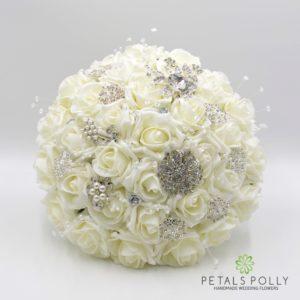 ivory foam rose brooch brides bouquet