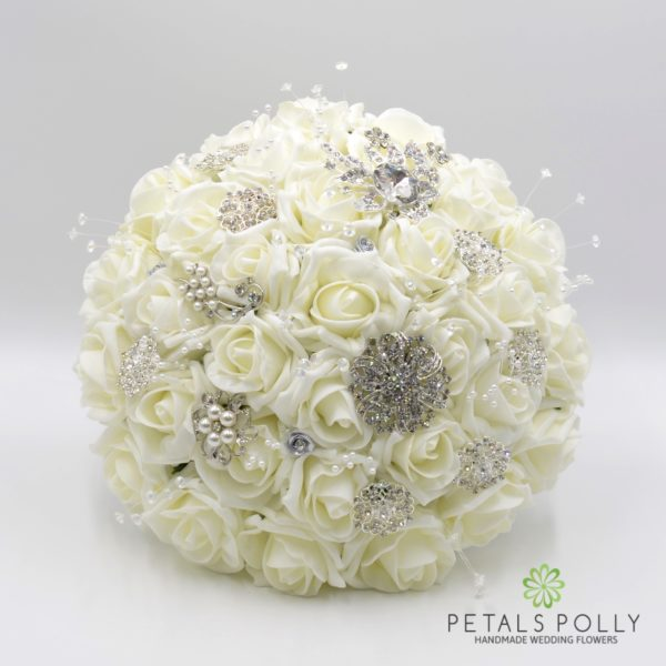 Ivory Rose Brides Posy with Diamanté Brooches, Pearl Stems and Crystal Stems