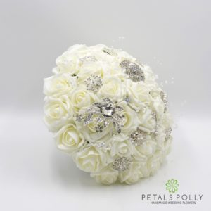 ivory foam rose brooch brides bouquet