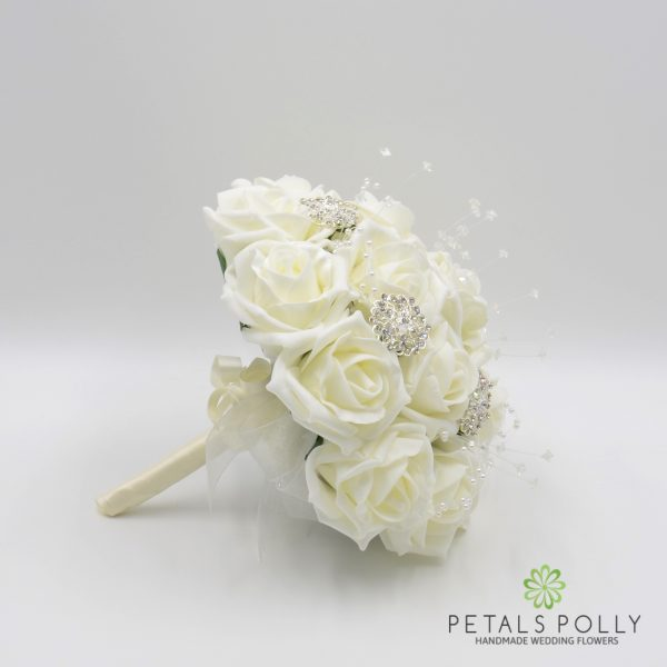 Ivory Rose Bridesmaids Posy with Brooches, Pearl Stems & Crystal Stems