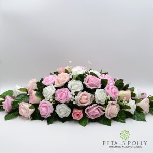 Pink and white artificial top table decoration