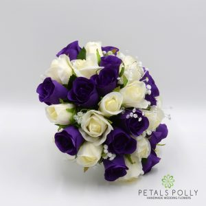 silk purple and ivory brides bouquet