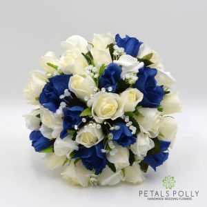 Navy blue and ivory silk rose brides bouquet