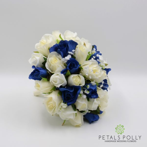 Navy Blue & Ivory Rose Brides Posy