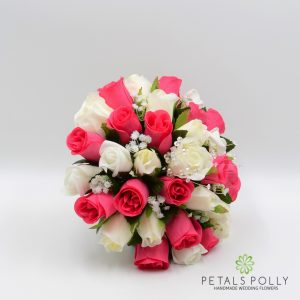 Hot pink and ivory silk rose brides bouquet
