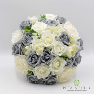 Grey and Ivory silk rose brides bouquet ranunculus