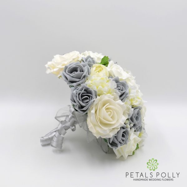 Grey & Ivory Rose Brides Posy with Ranunculus and Hydrangea